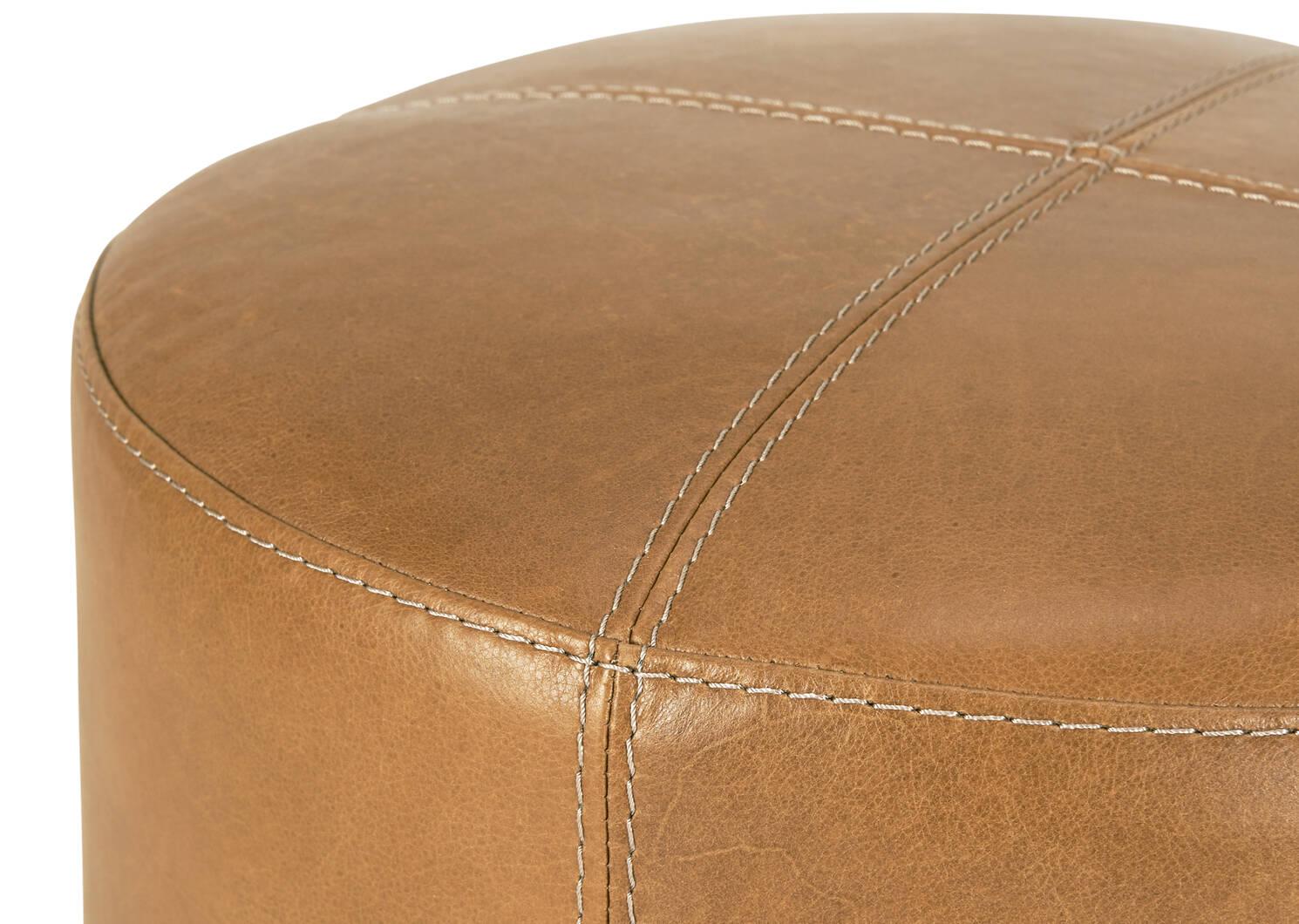 """Archibald Leather Ottoman 18"""" -Adler Tan"""