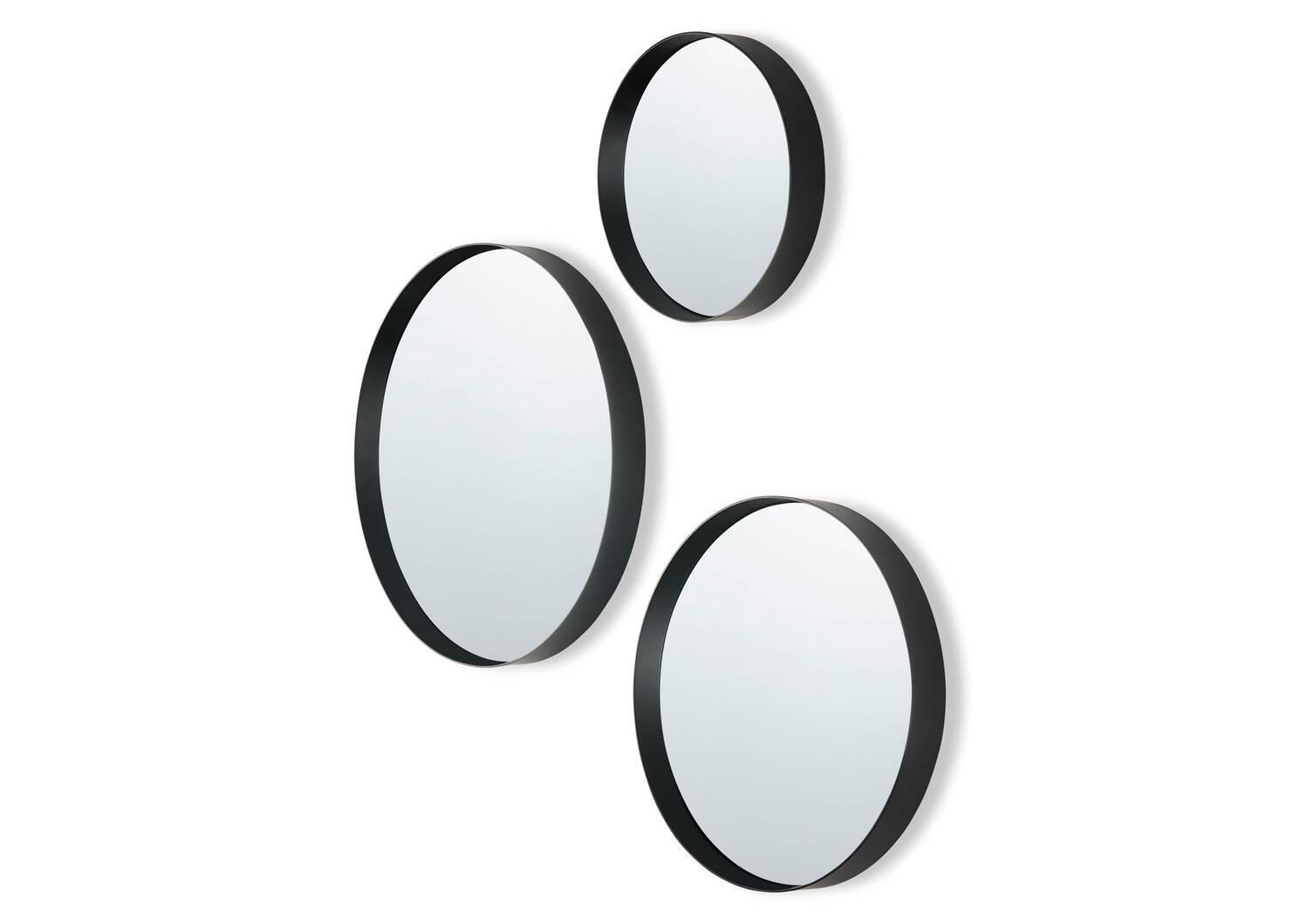 Ens. de miroirs muraux Frances noir