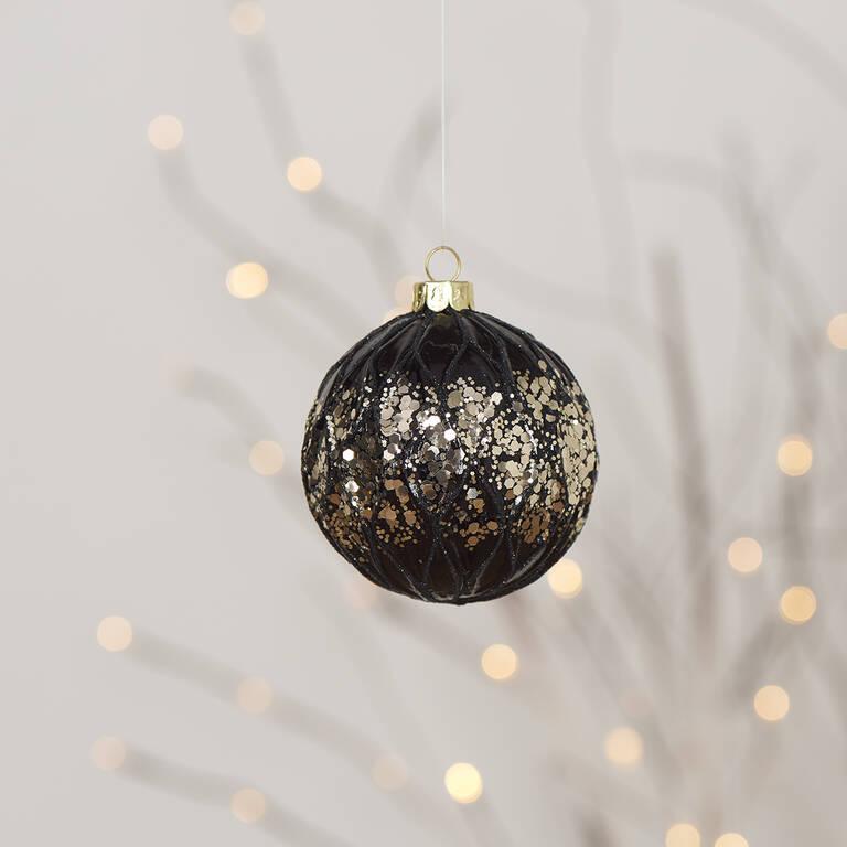 Rowena Glitter Ball Orn Black