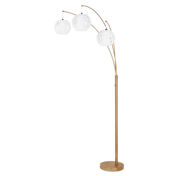 Lantern 3 Floor Lamp White/Brass