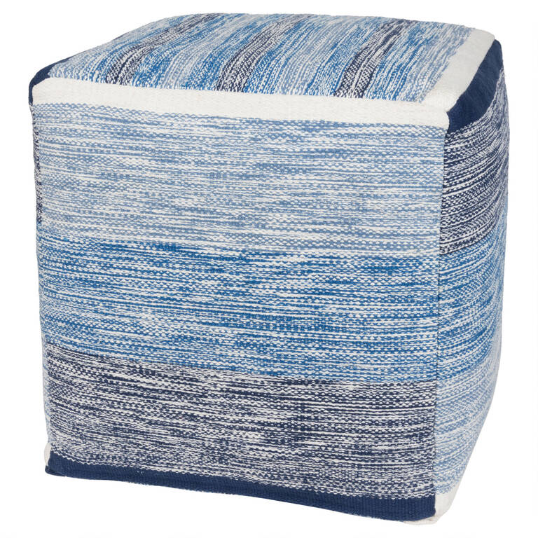 Nestor Striped Pouf Square White/Indi