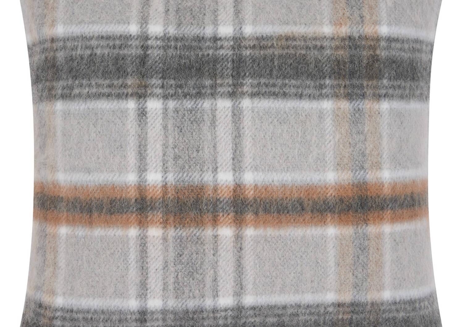 Iain Plaid Toss 20x20 Grey/Caramel