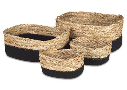 Racquel Basket Set Natural/Black