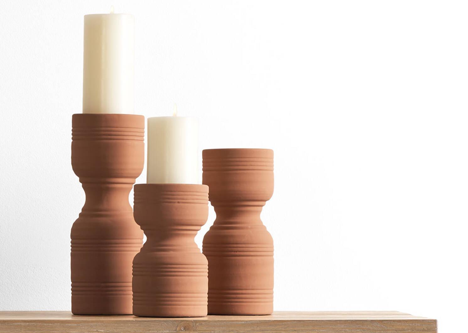 Rife Candle Holders Terracotta