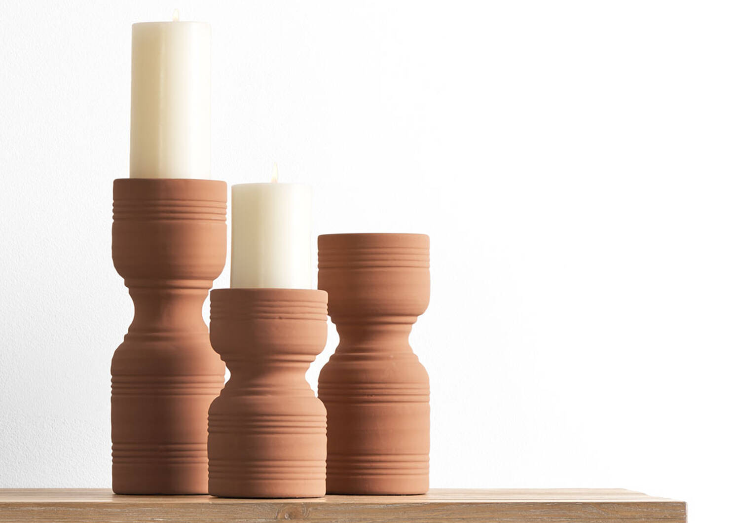 Rife Candle Holder Medium Terracotta