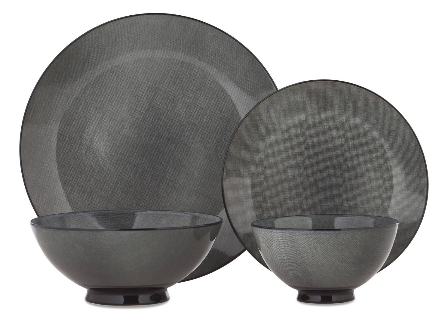 Etching 16pc Dish Set Grey