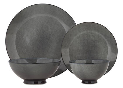 Etching 16pc Dish Set Grey