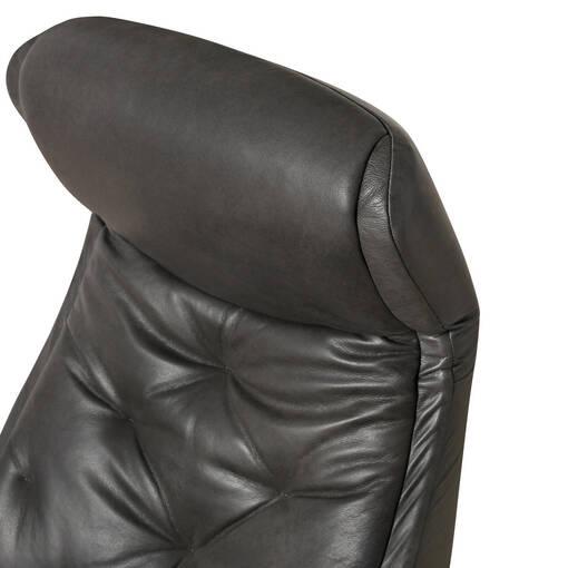 Zeta Leather Recliner w/ Otto -Sol Slate