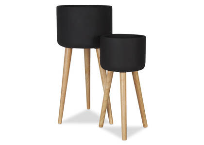Kyrie Standing Planters -Black