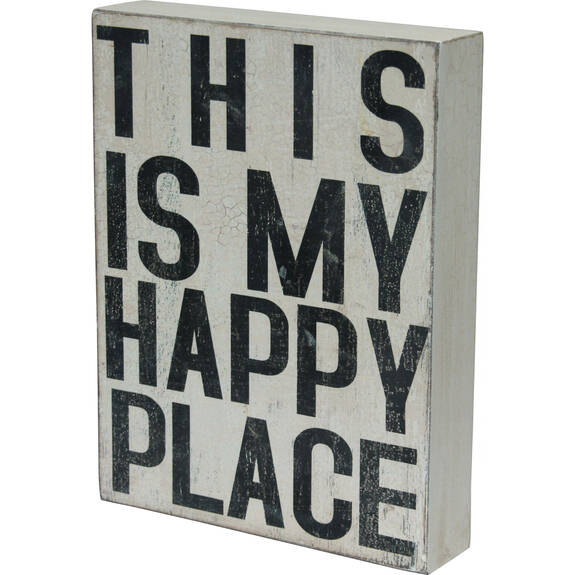 Happy Place Block White