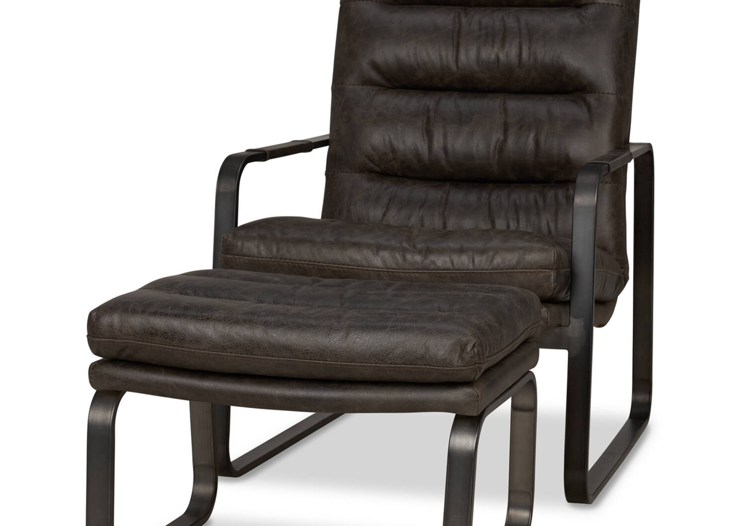 Donnelly Leather Ottoman -Hurst Cocoa