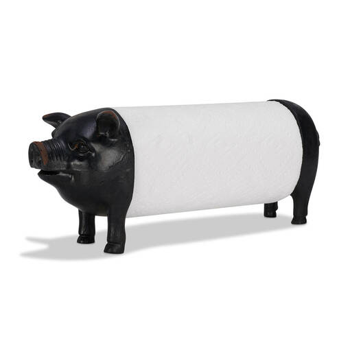 Pig Paper Towel Holder Black