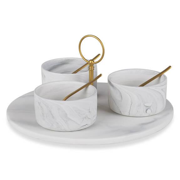 Carrara 7pc Tapas Set w/ Rd Tray Brass