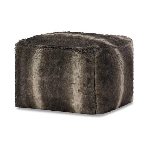 Fauna Faux Fur Pouf Grey Wolf