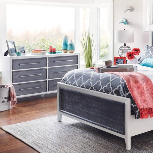 Bureau 6 tiroirs Marina Bay -Skye gris