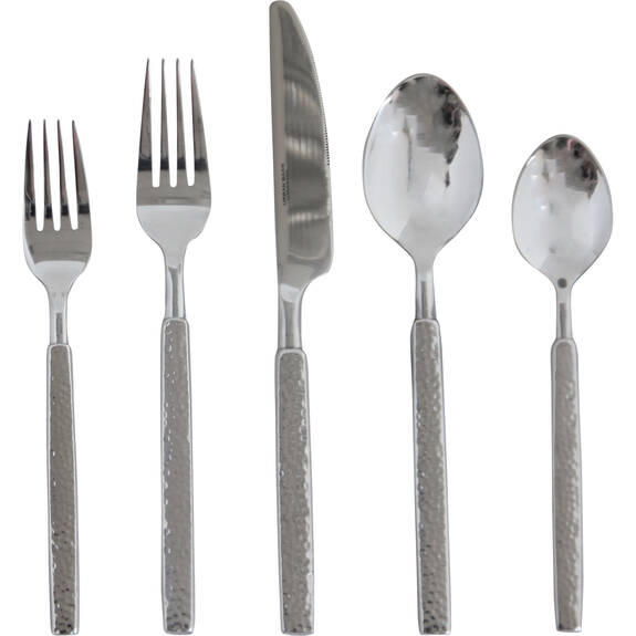 Hammered 5pc Cutlery Set Silver