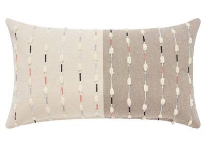 Coussin Francesca 12x22 corail/ivoire/bl