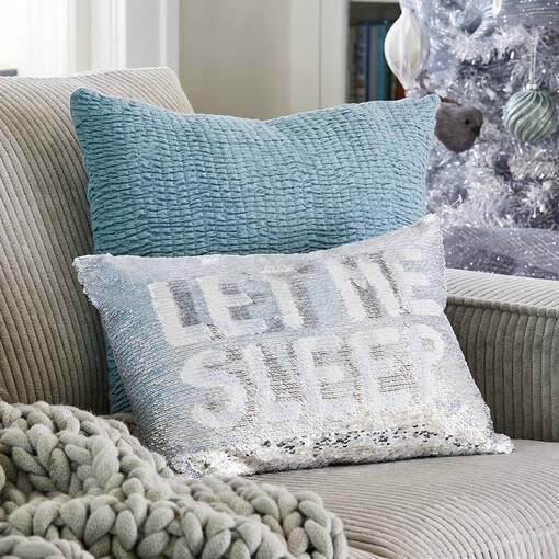 Bette Sequin Toss 12x18 White/Silver