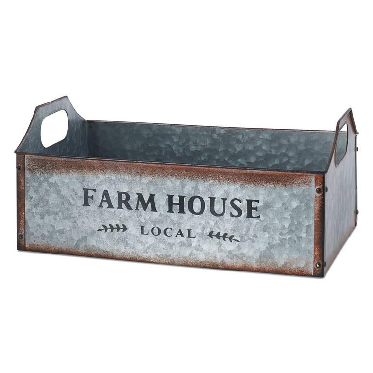 Farmhouse Metal Crate Medium
