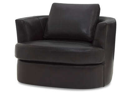 Beverly Leather Swivel Chair -Andre Grey
