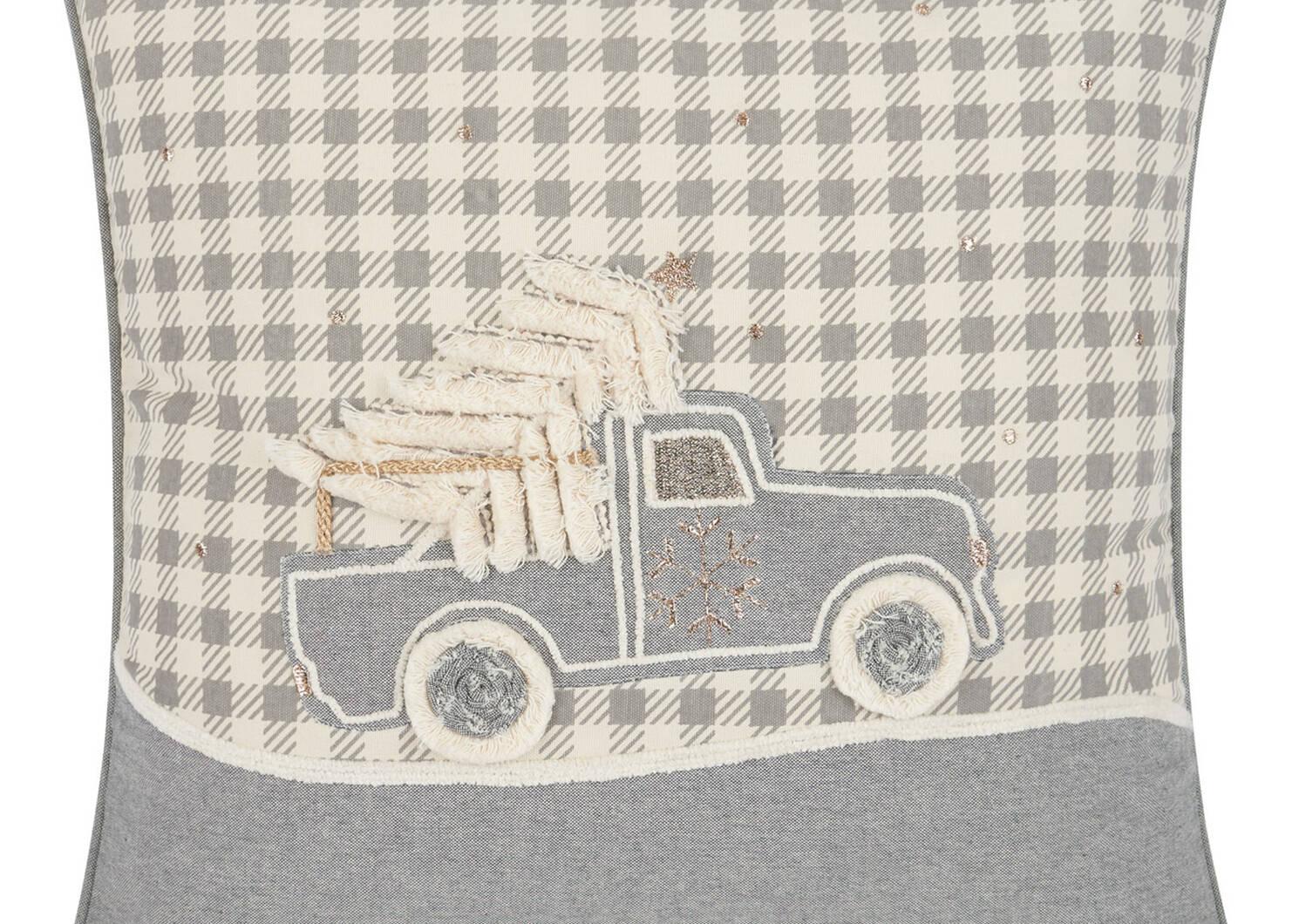 Tannenbaum Truck Toss 20x20 Grey/Ivor