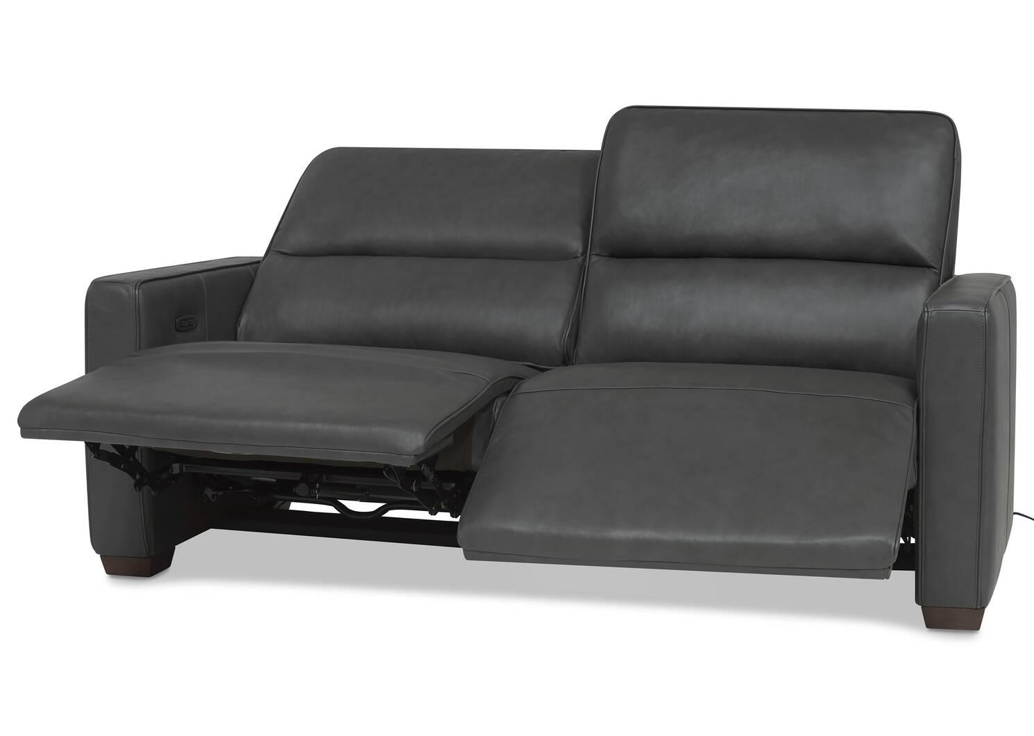 Reese Leather Reclining Sofa -Arlo Smoke