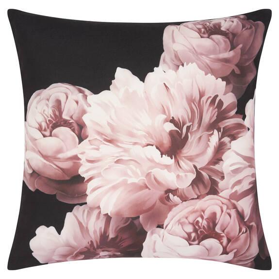 Coussin pivoine Baroness 20x20 noir/rose
