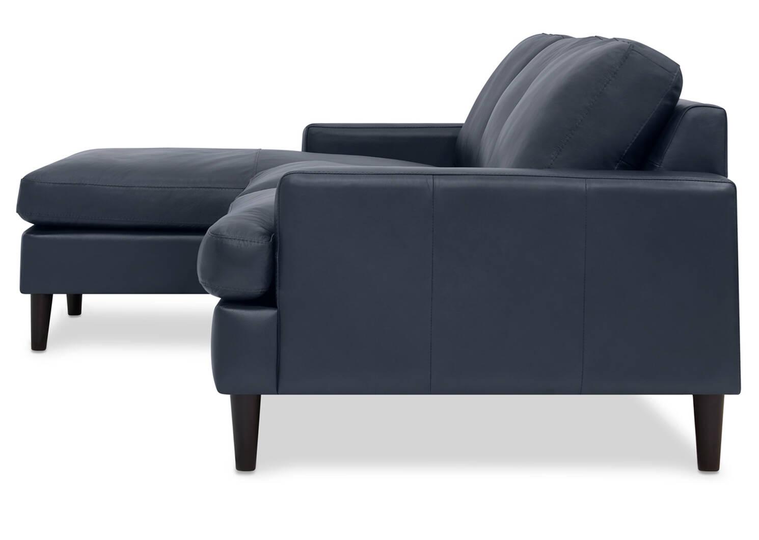 Savoy Custom Leather Sofa Chaise
