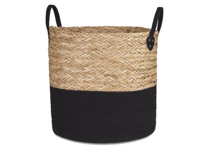 Racquel Laundry Basket Natural/Black