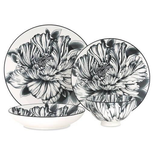 Peony 16pc Dish Set Black/White