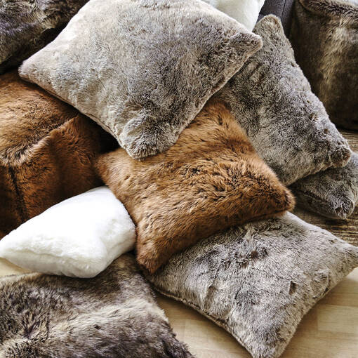 Fauna Faux Fur Pouf Sable