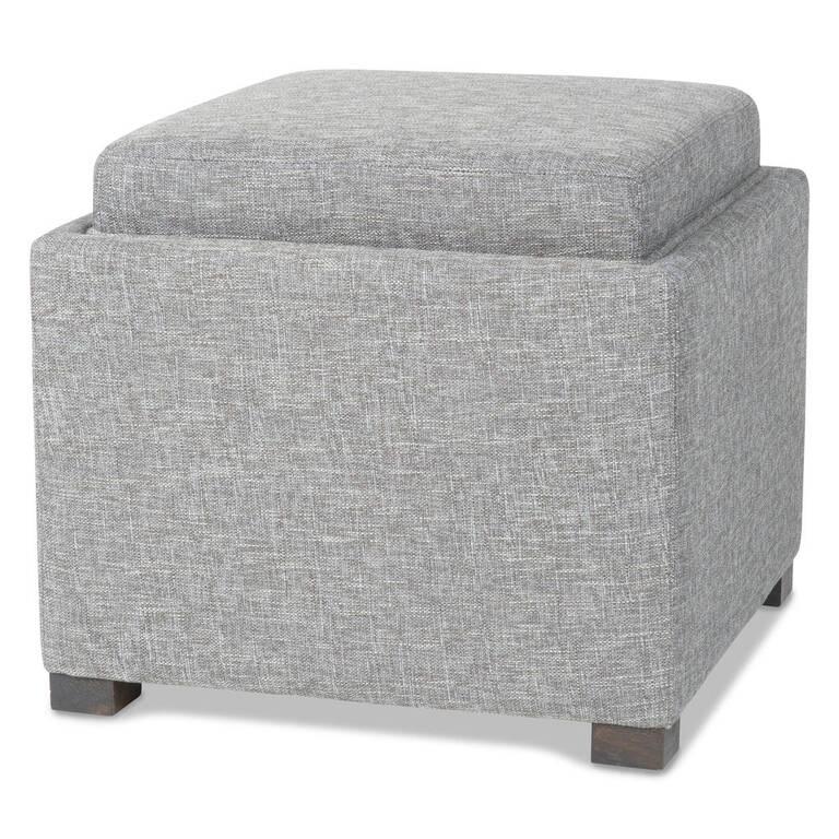 Fay Storage Ottoman -Lino Grey