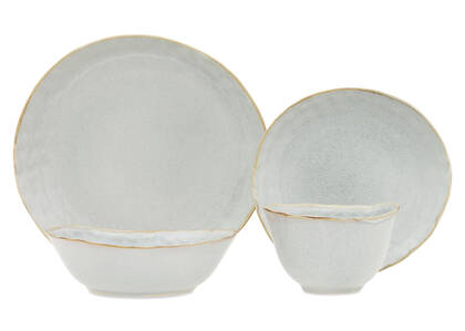 Crofton Glazed 16pc Dish Set Light Grey