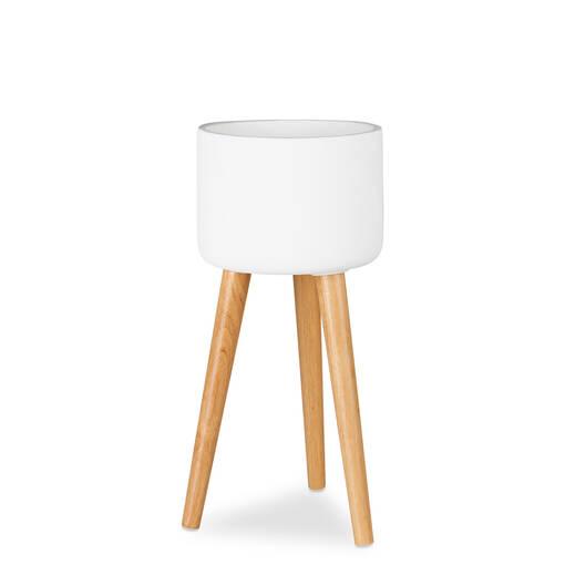 petit cache pot sur pied kyrie blanc. Black Bedroom Furniture Sets. Home Design Ideas