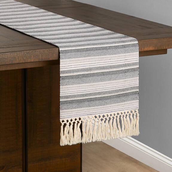 Jovie Stripe Table Runner White/Atlan