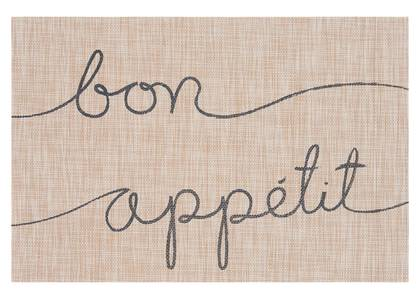 Napperon Bon appétit naturel/gris