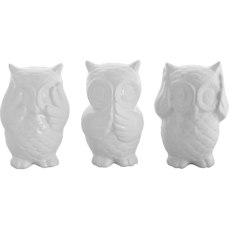 No Evil Owls S/3 White