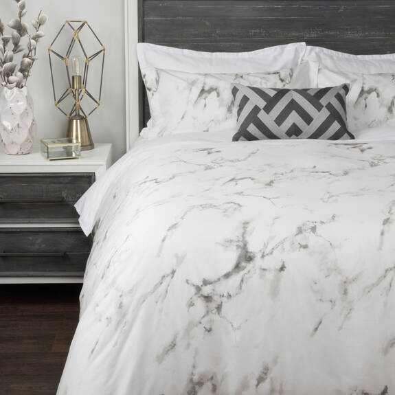 Carrara Duvet Set - White/Grey