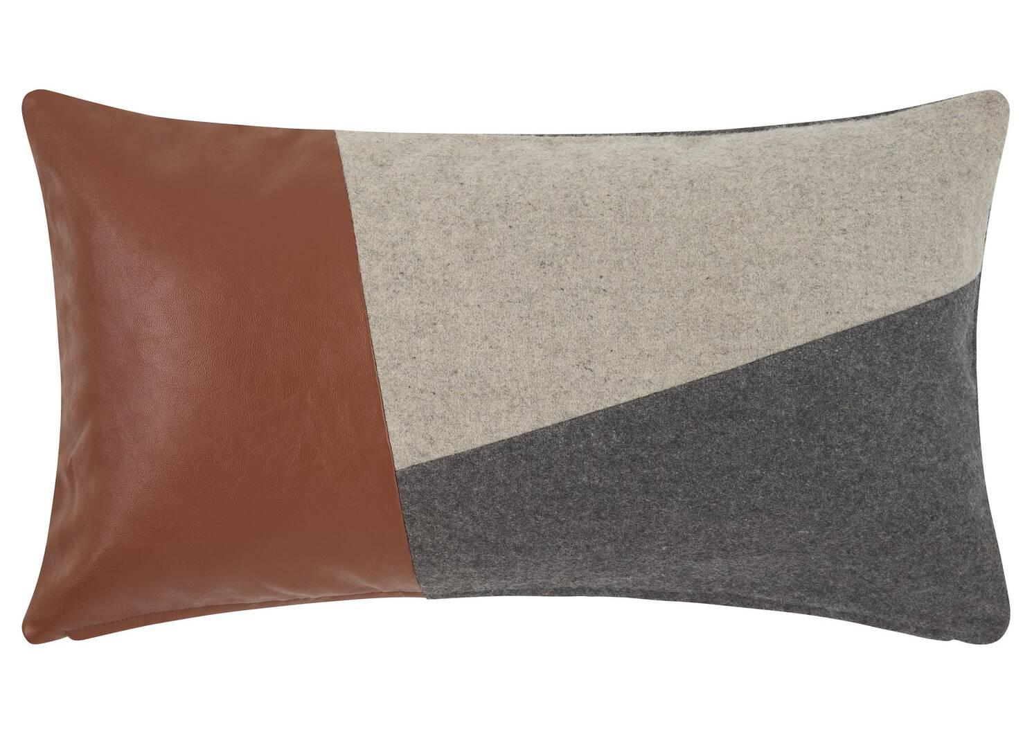 Coussin Delaney 12x22 gris/brun clair