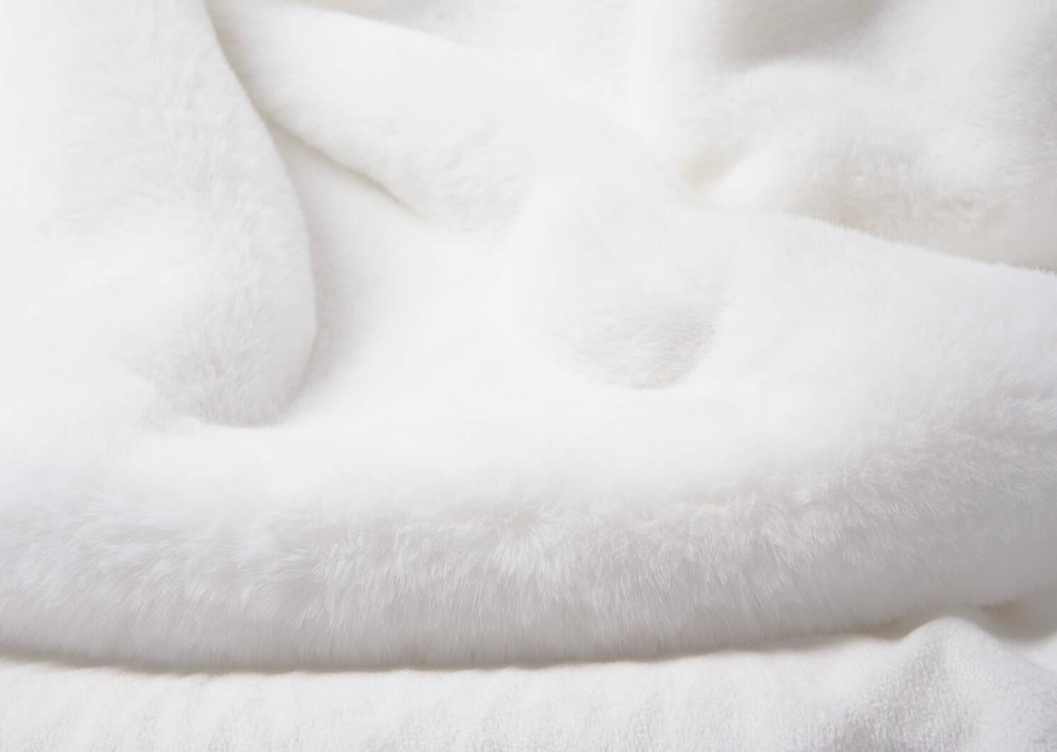 Flora Faux Fur Throw White