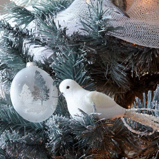 Ornement oiseau Long Tail blanc
