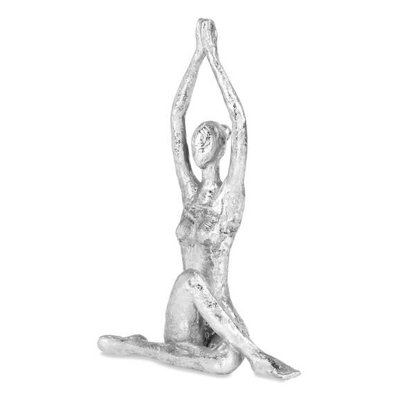 Statuette post. Yoga torsion assise arg.
