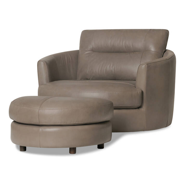 Andros Leather Chair w/ Ottoman -Oxford