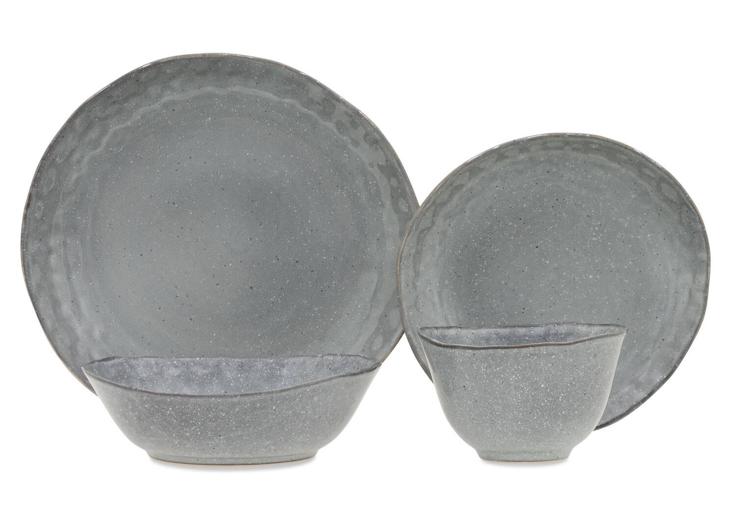 Serv vaisselle glacis Crofton 16p gris f