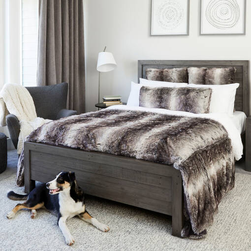 Haven Faux Fur Bedspread Grey Wolf