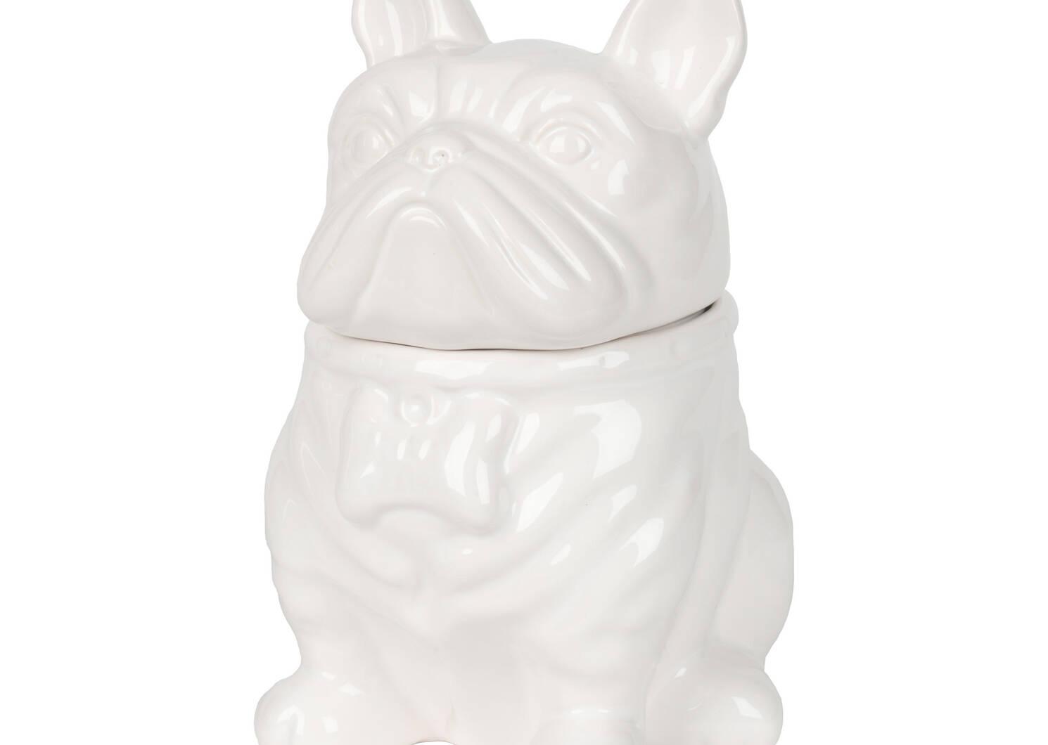 Jarre à biscuits bulldog Louie blanche