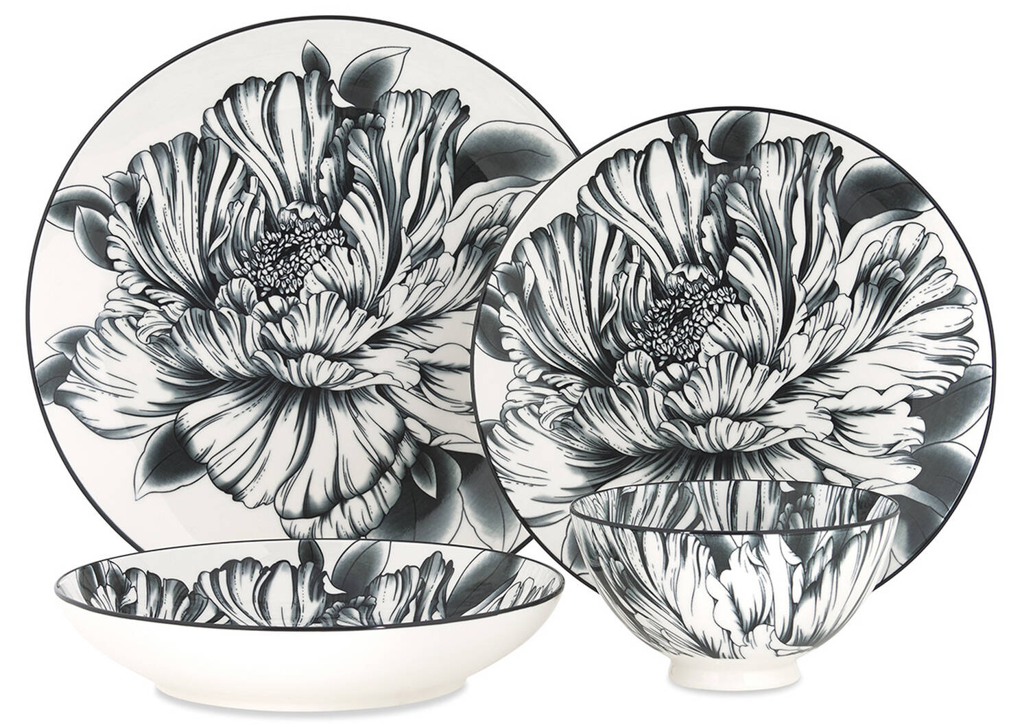 Peony 16pc Dish Set Black/White