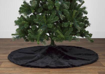 Flora Faux Fur Tree Skirt Black
