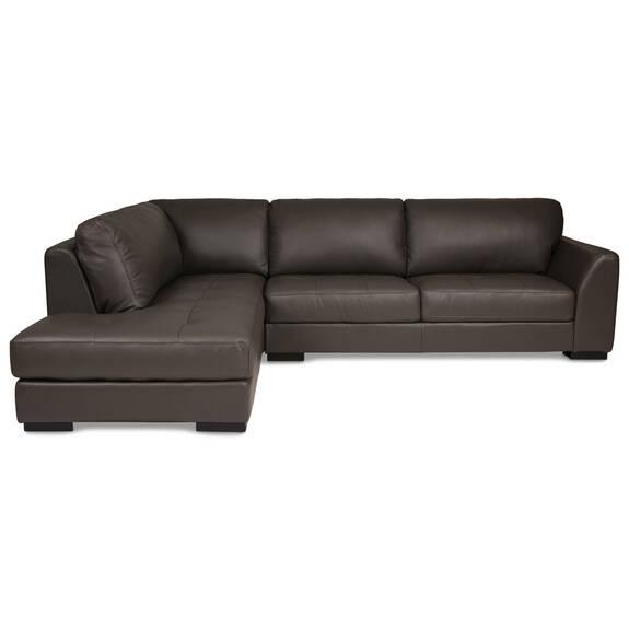 Canapé d'angle en cuir Boone -Gris