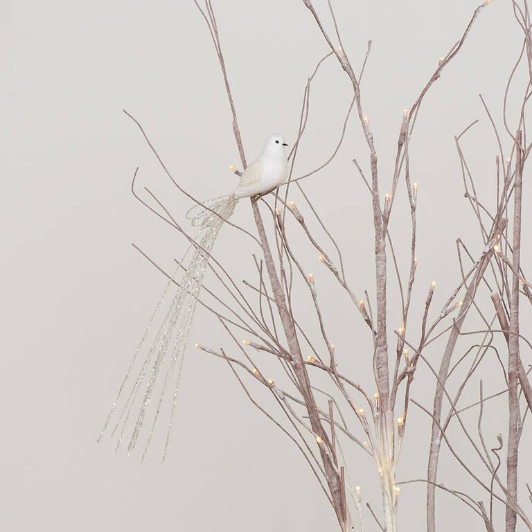Long Tail Bird Orn White